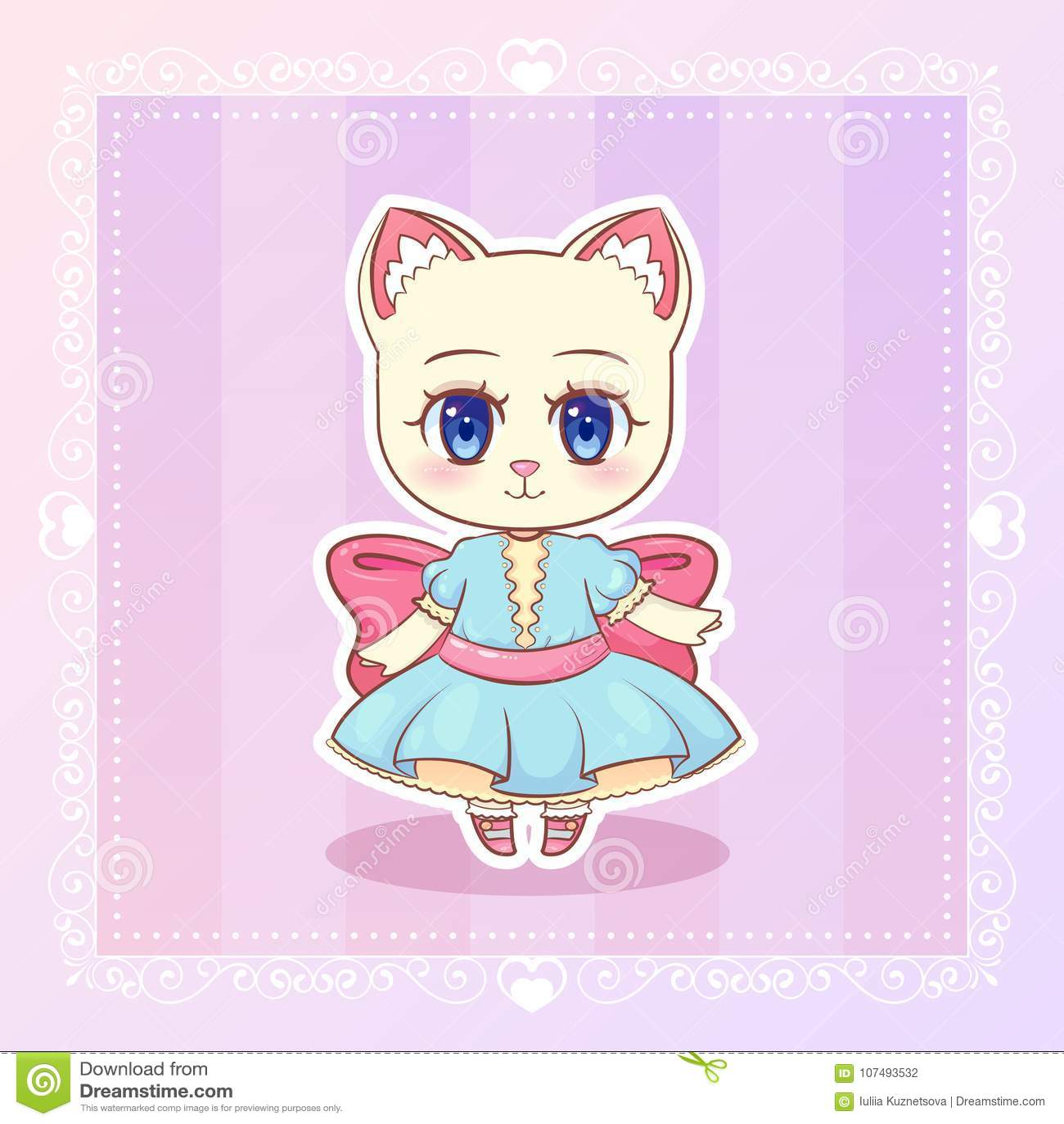 Sweet kitty little cat cute kawaii anime cartoon kitten girl in dress with pink ribbon