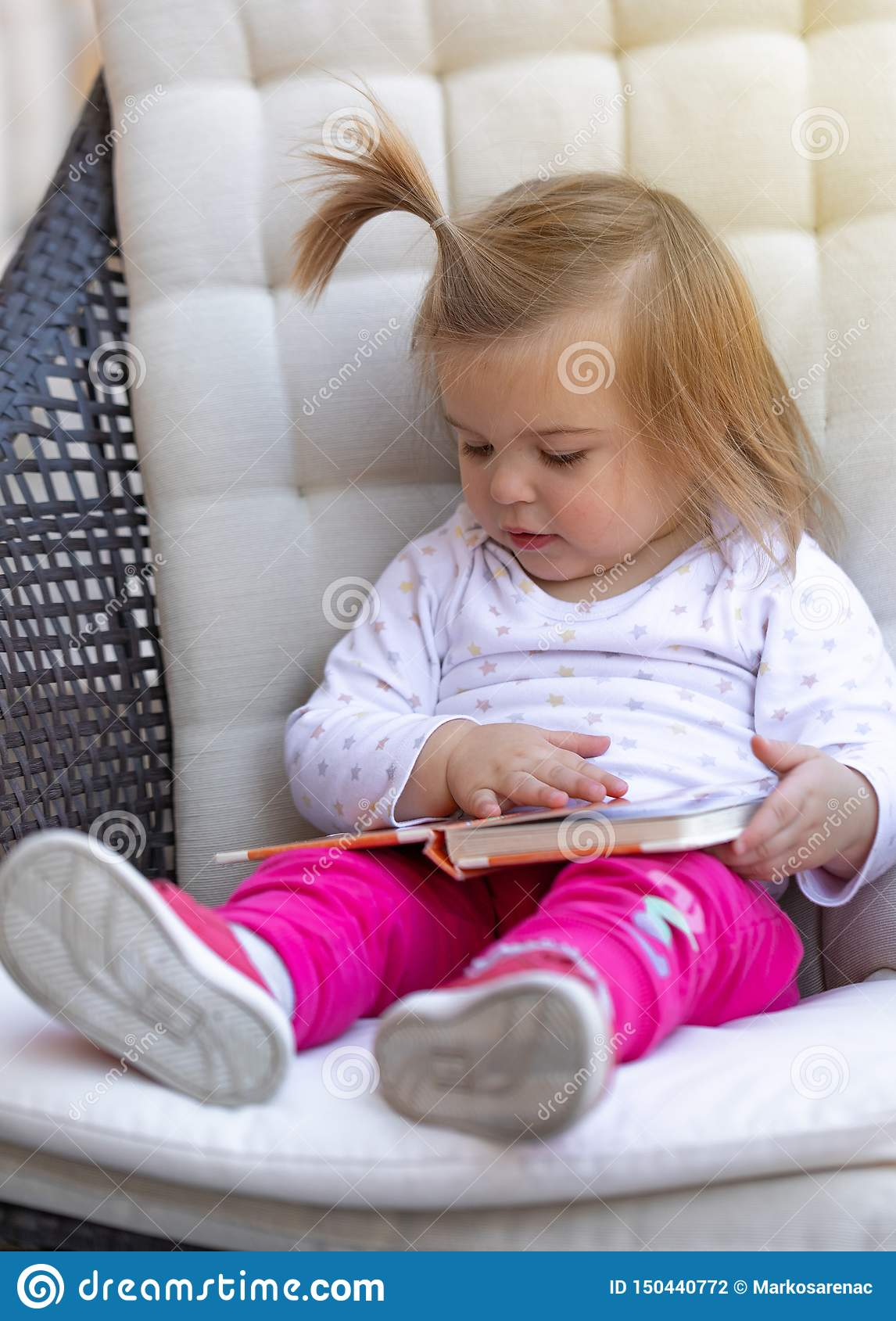 Baby Girl Read Book Cute Child Face Stock Photo Image