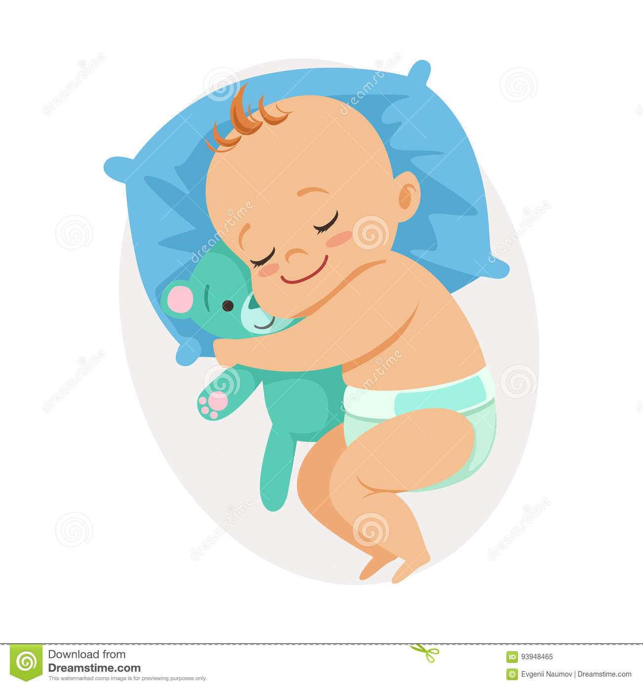 Sweet Little Baby Sleeping In His Bed And Hugging Teddy ... - photo#20