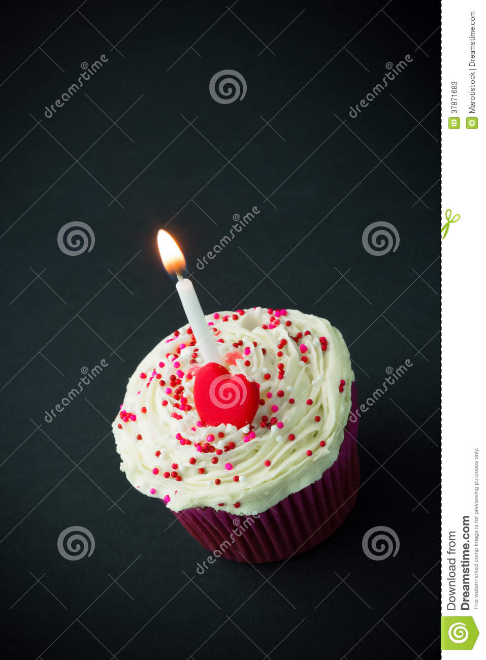 Sweet Little Birthday Cake With Candles Stock Photos - Image: 37871683