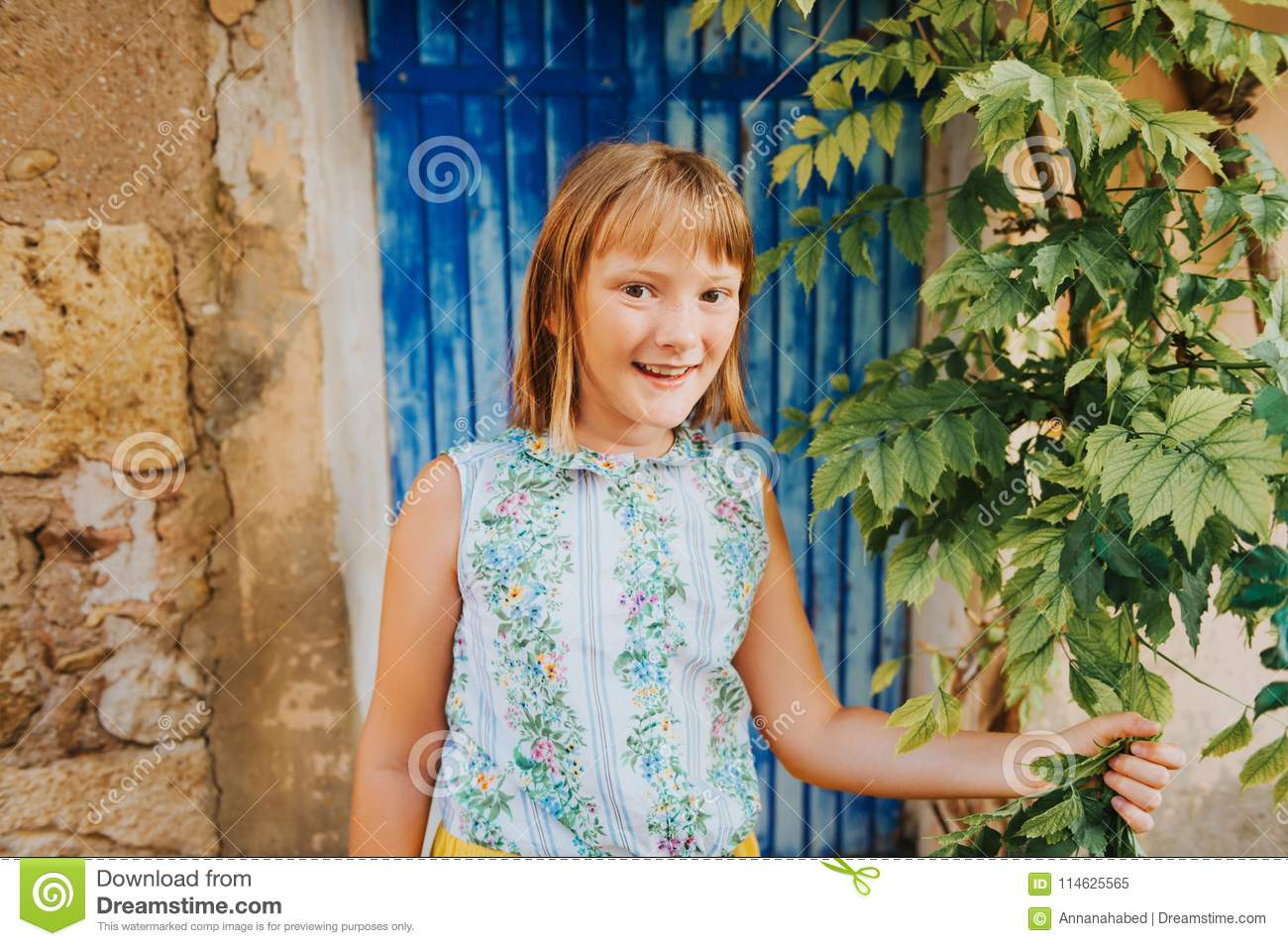 9ea6df849 Outdoor Portrait Of Pretty Kid Girl Stock Image - Image of family ...