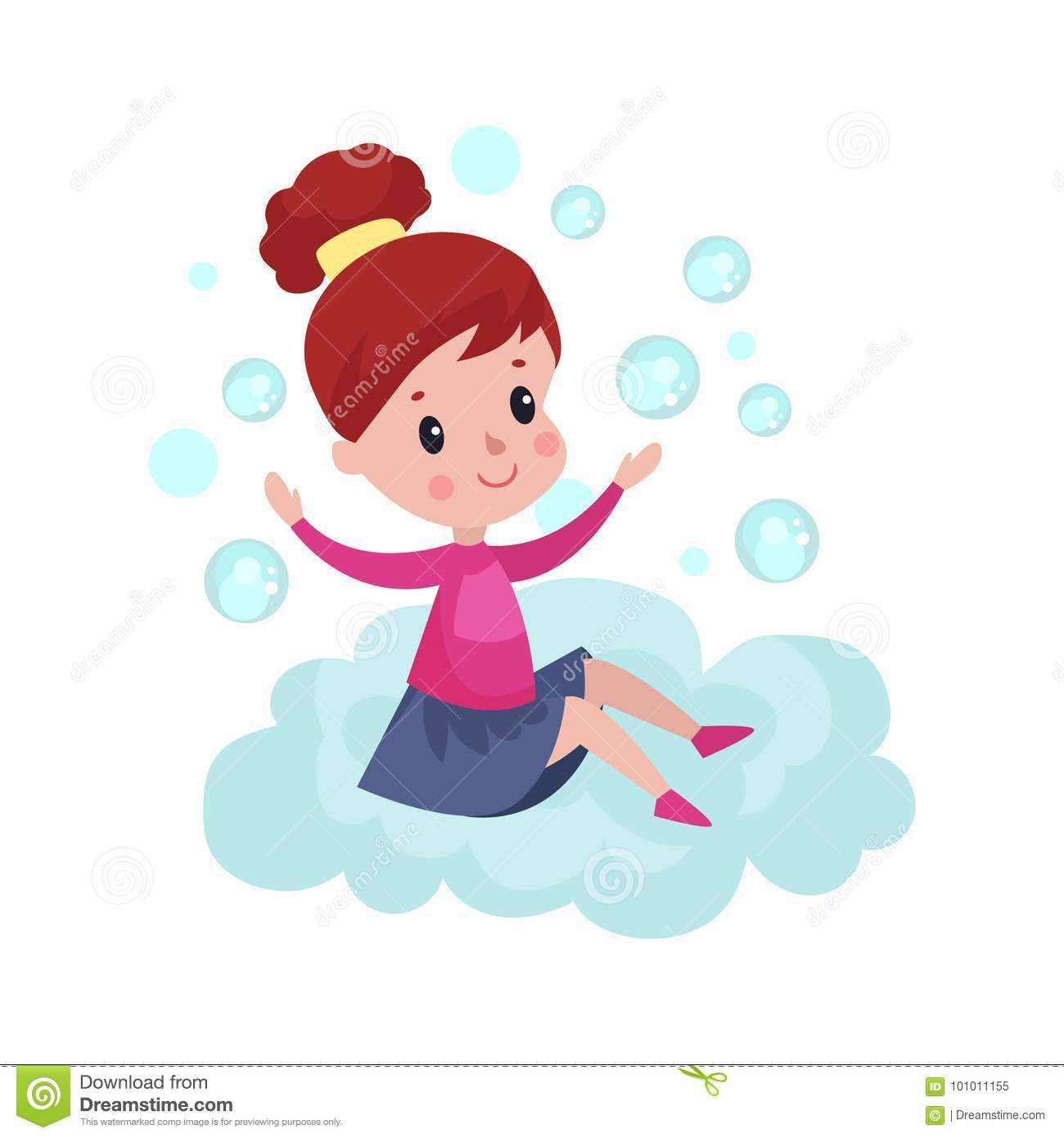 Sweet little girl sitting on a cloud and playing with soap bubbles, kid fantasizes and dreams cartoon Illustration