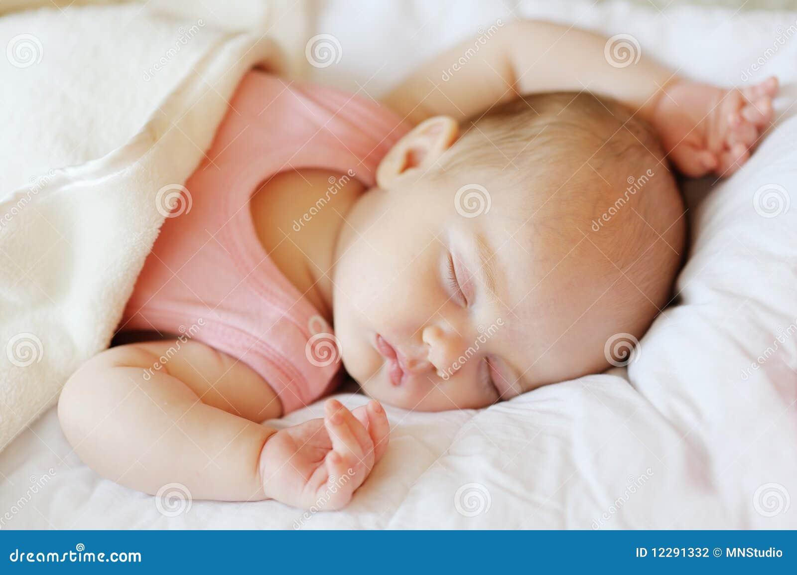 Baby bed newborn - Sweet Little Newborn Baby In A Bed