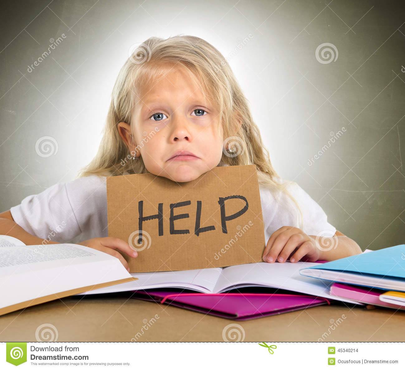Sweet Little School Girl Holding Help Sign In Stress With ...