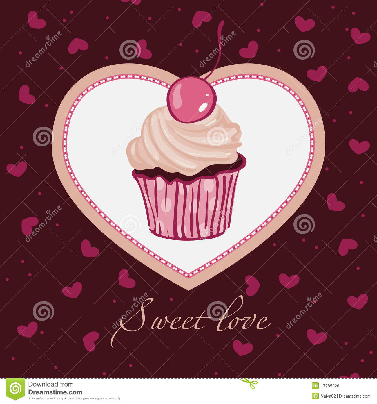 Sweet Love Template Design For Card Stock Vector
