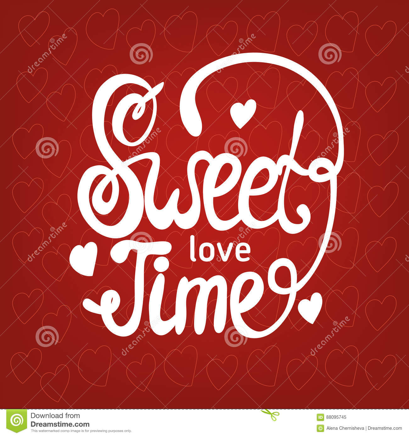 Sweet love time hand drawn brush lettering cartoon