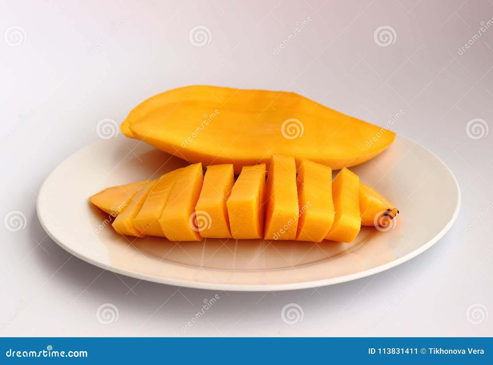 Sweet mango on a white dish
