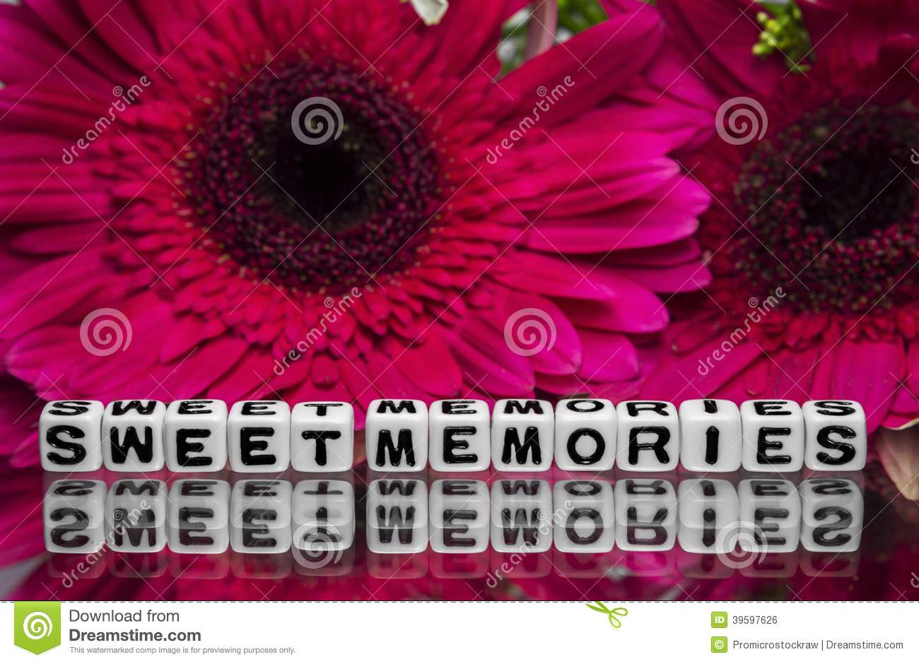sweet memories message with flowers stock photo