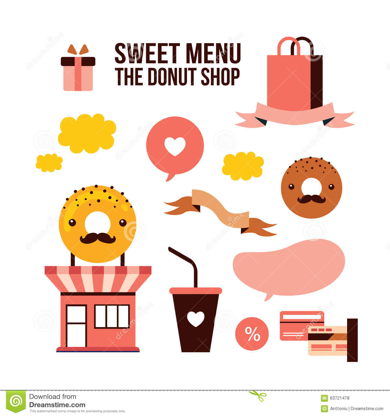Cartoon Doughnut Factory: Donut Shop Cake Dessert Delicious Food Isometric