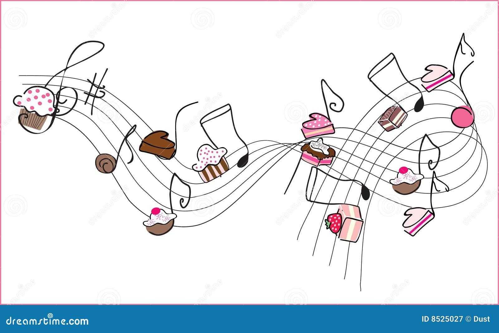 musica music sweet dolce musique douce muziek zoete musik notes note illustration illustrazione dolci libera diritti illustratie pudding douces droits
