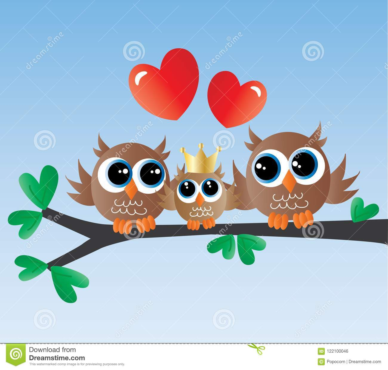 A Sweet Owl Family Sitting On Branch Header Banner Newborn Baby Announcement
