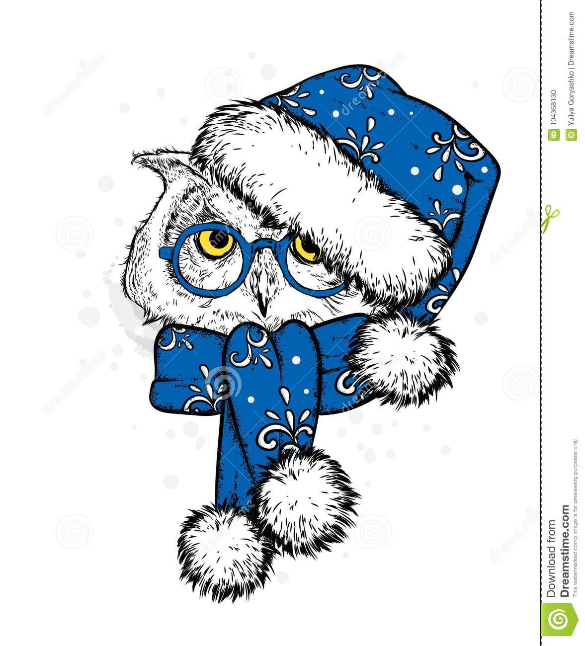 sweet owl in a new years cap and scarf vector illustration beautiful bird santa claus
