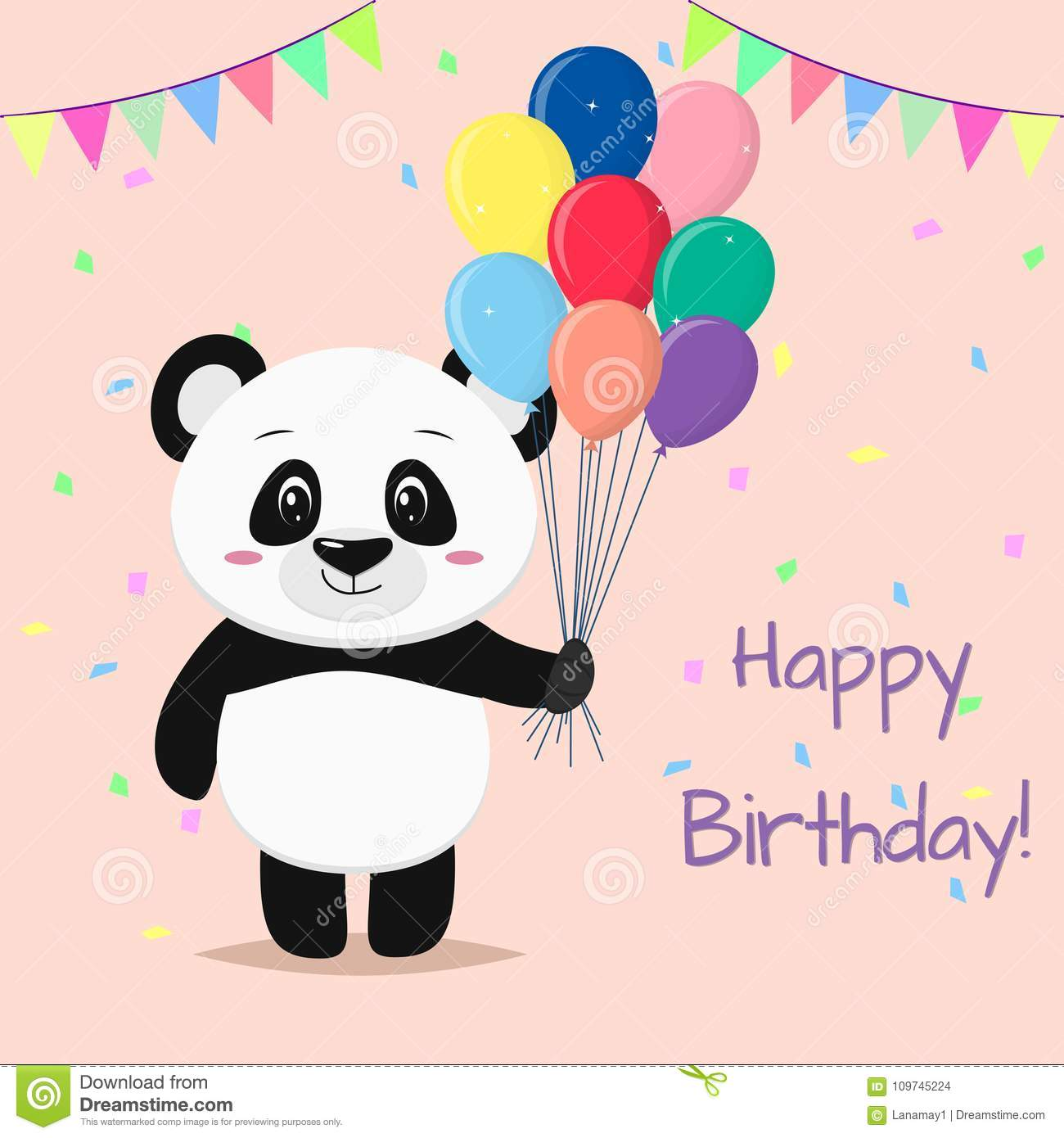 A Sweet Panda Is Standing And Holding Many Different Balloons In Its Paws Happy Birthday