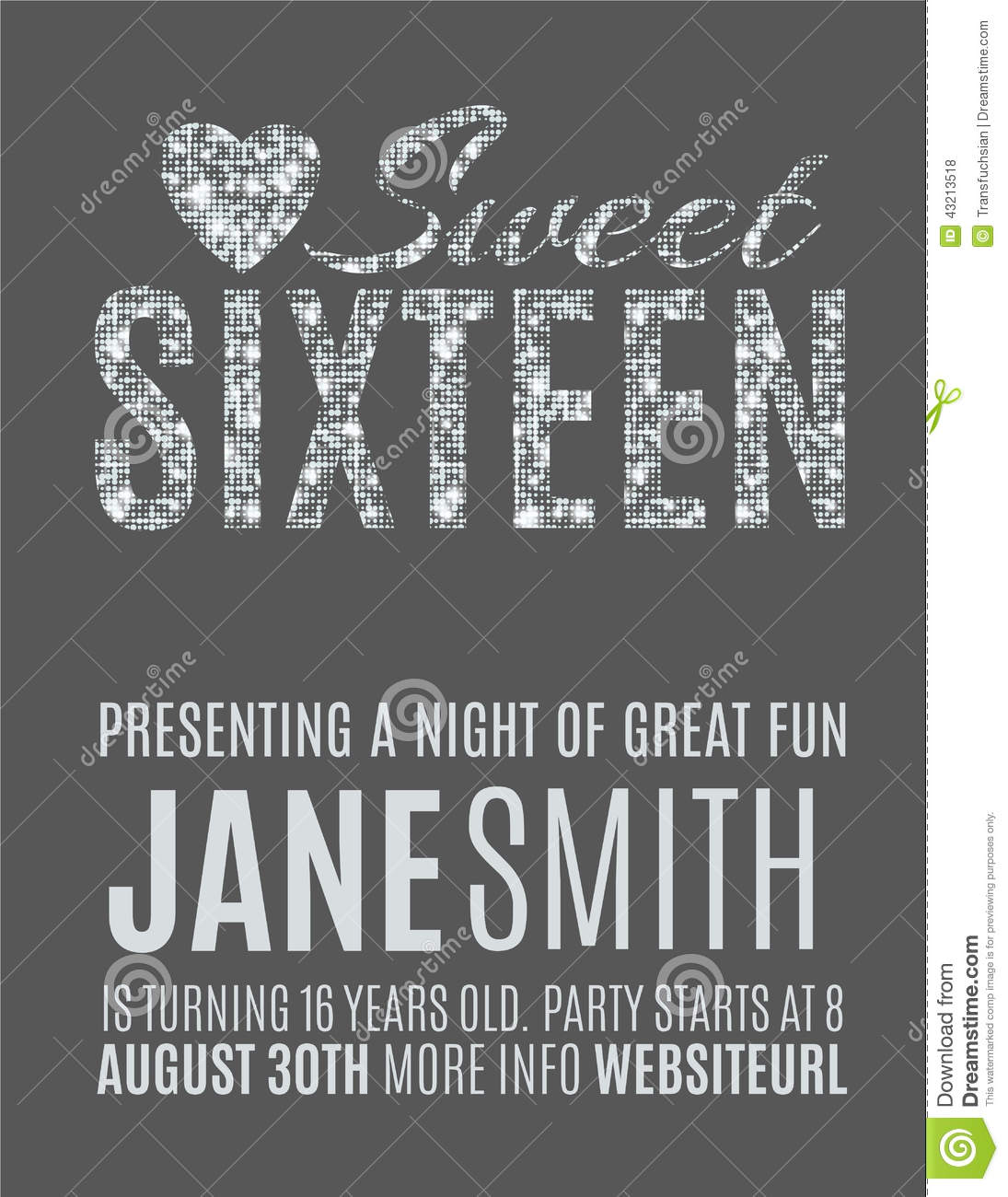 Sweet Party Invitation Template Stock Vector Illustration Of - Sweet 16 party invitations templates