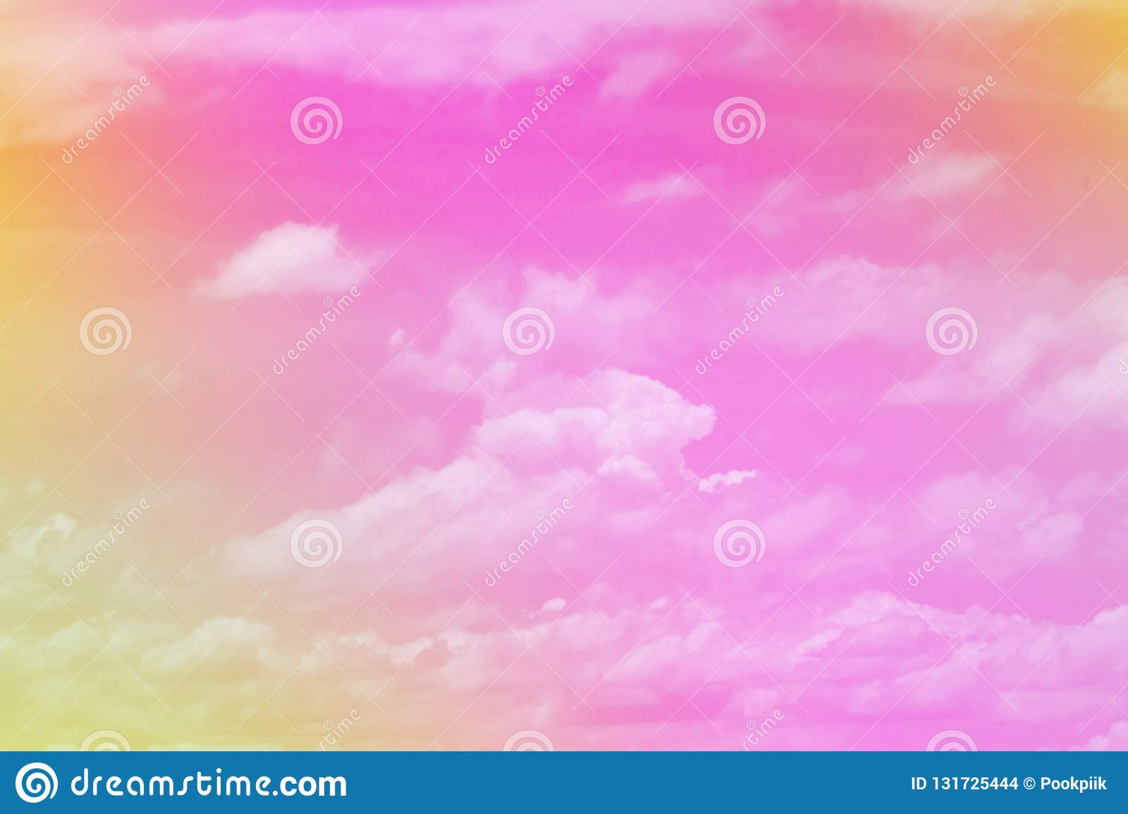 Sweet pastel colored cloud and sky with sun light, soft cloudy with gradient pastel color background. summer concept