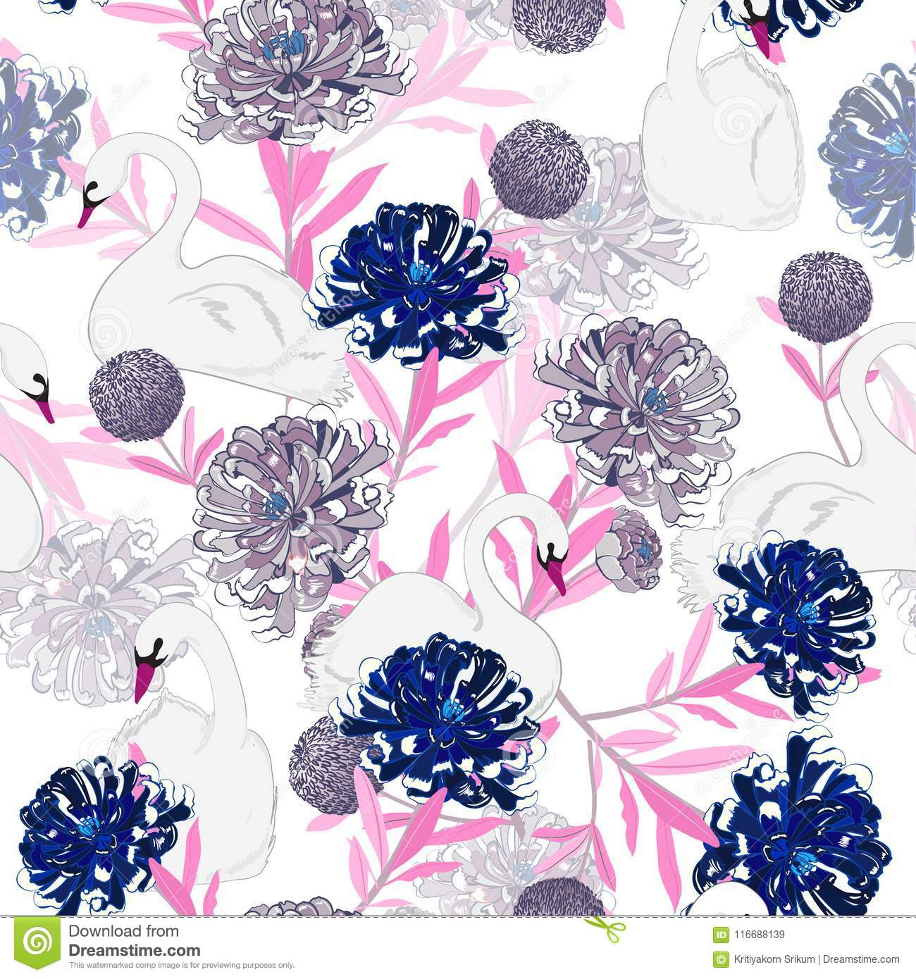 Sweet pastel Soft and gentle oreintal blooming flowers with hand