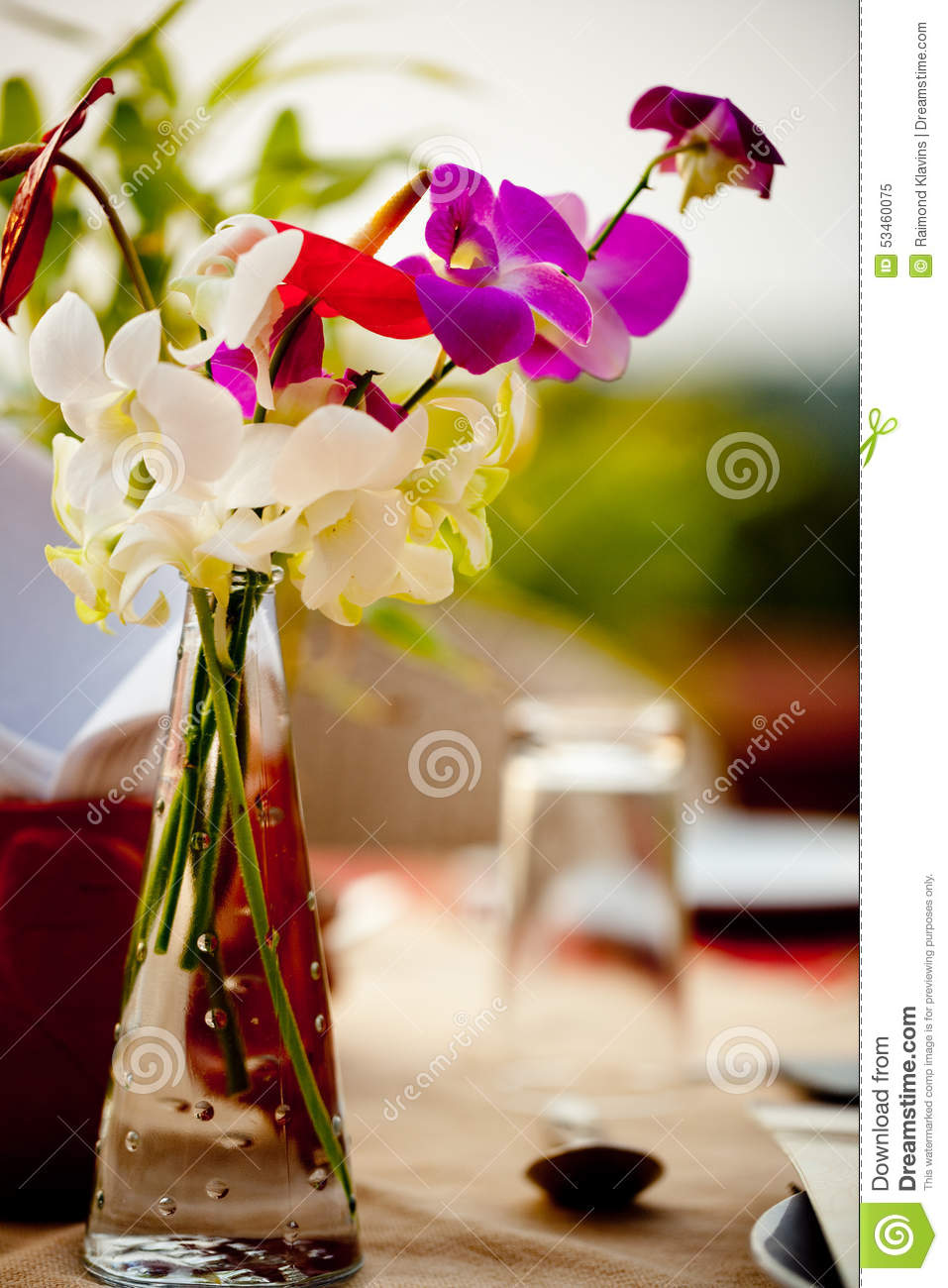Sweet pea in vase at banquet table setting with flower at garden royalty free stock photo reviewsmspy