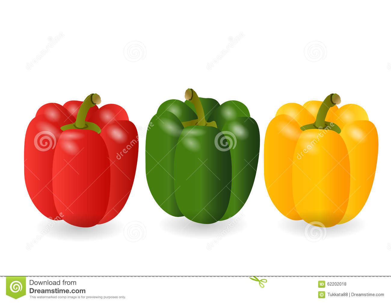 Sweet pepper 3 color red,yellow,green ,Vector illustration