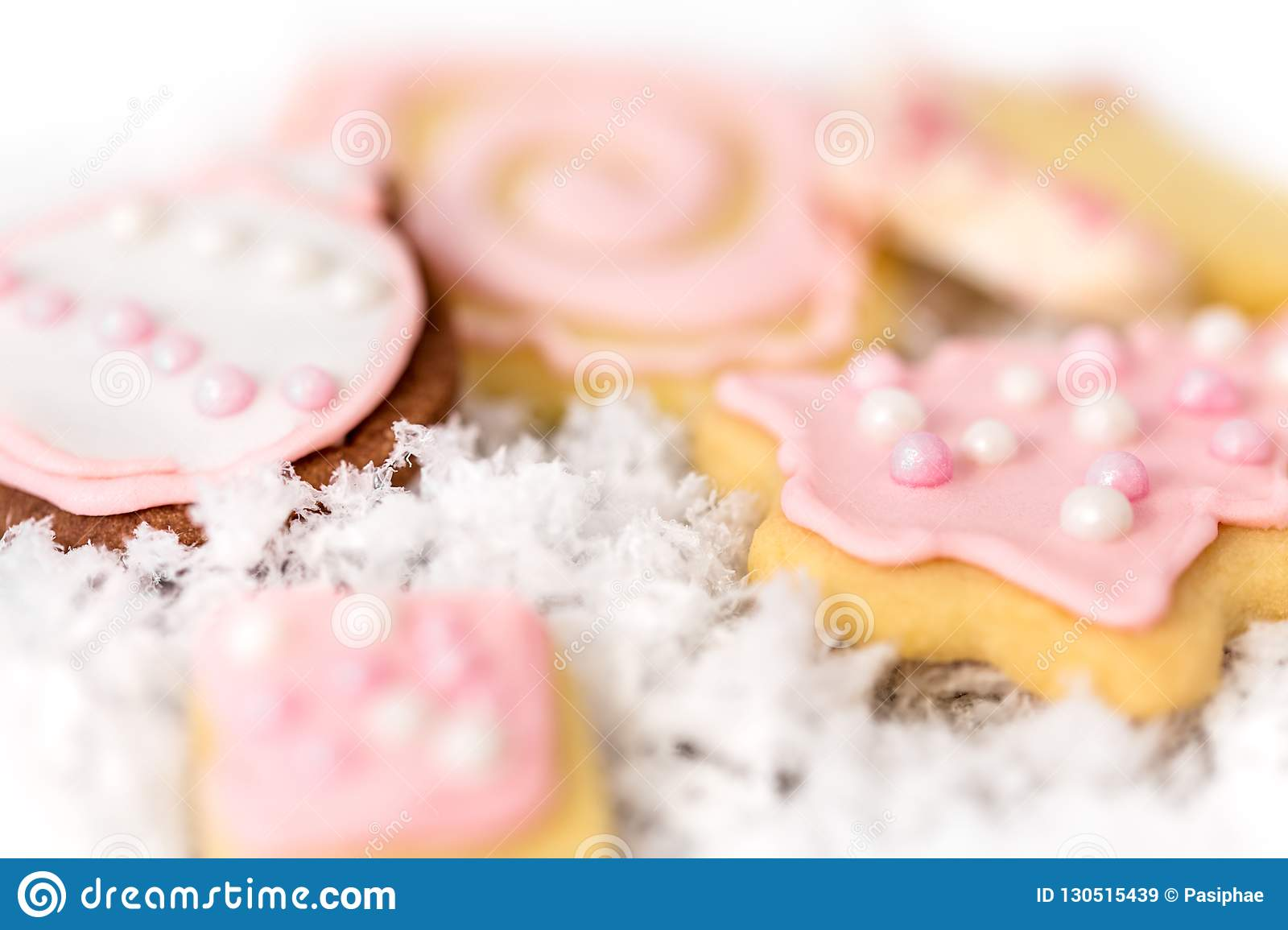 Sweet Pink Christmas Cookies An With Background Concept Homemade