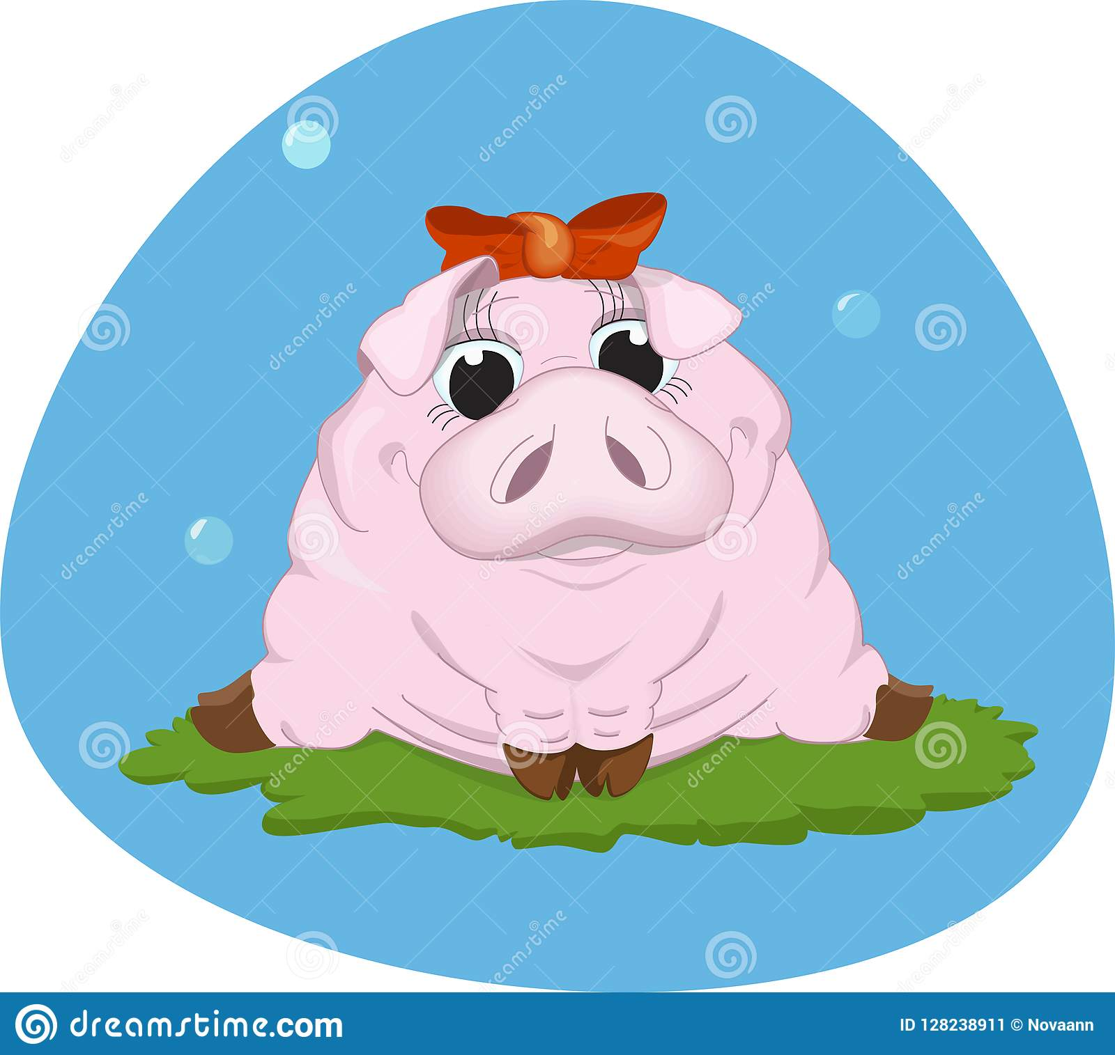Sweet pink piggy .Vector illustration