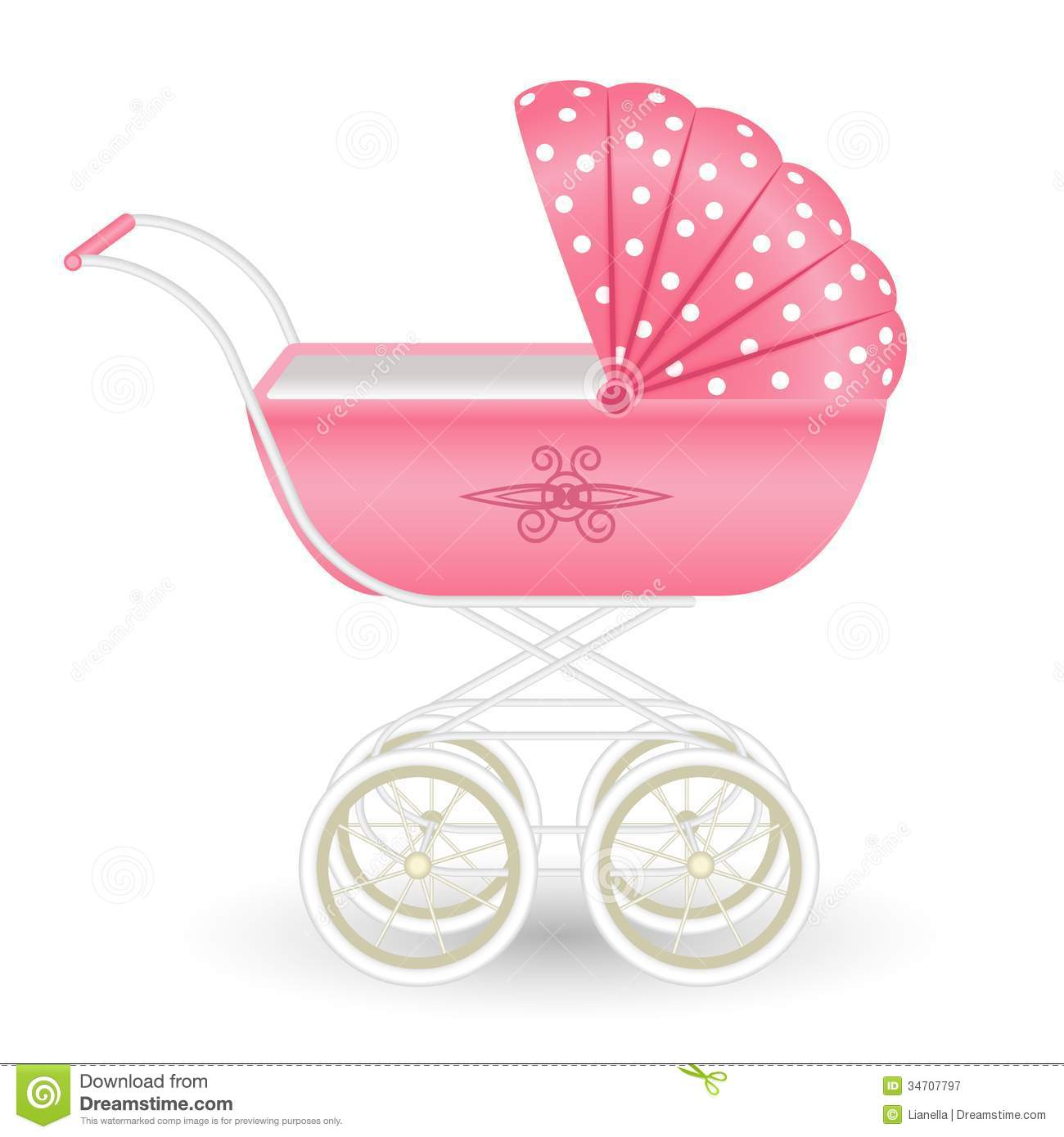 Sweet pink pram stock illustration Illustration of girl