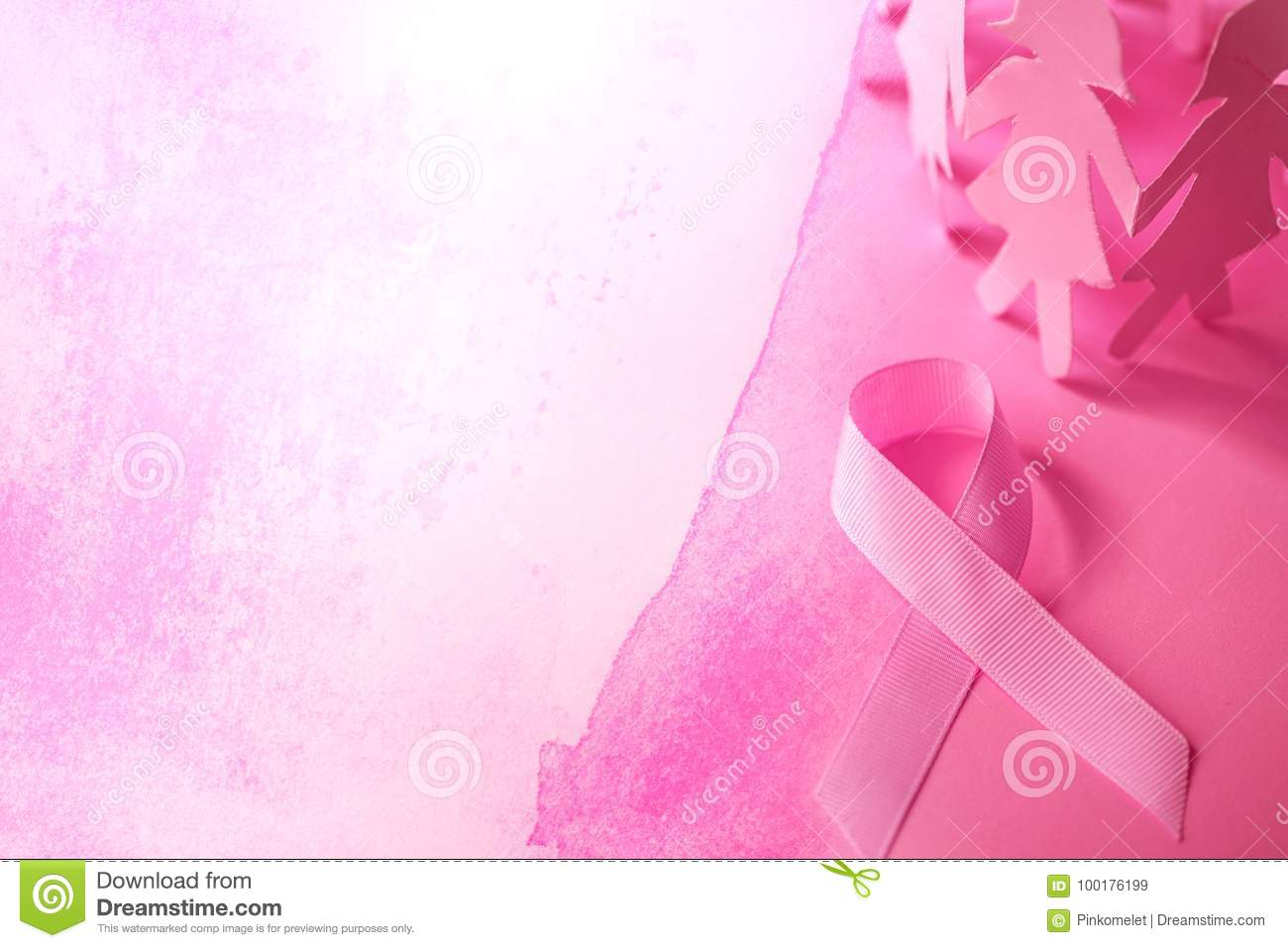 The Sweet pink ribbon shape with girl paper doll on pink background for Breast Cancer Awareness symbol to promote in october mo