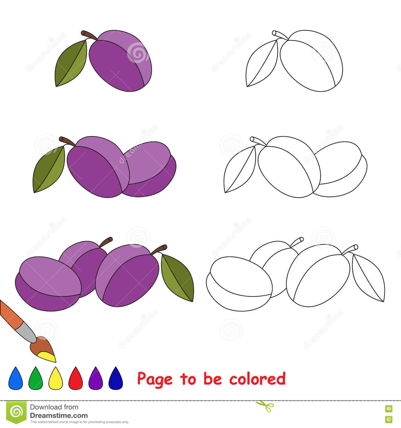 Plum clipart coloring, Plum coloring Transparent FREE for download ... | 1390x1300