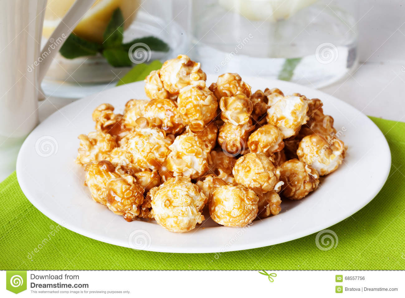 Foodtealife: Sweet Popcorn Food On The Table In Still Life Tea Party