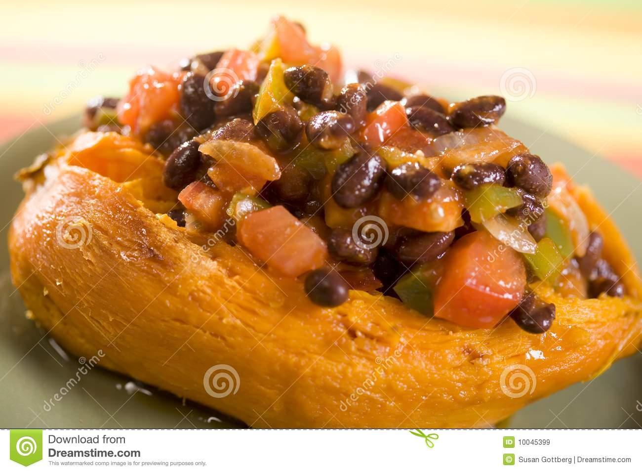 Baked Yams With Chili Beans Recipe — Dishmaps