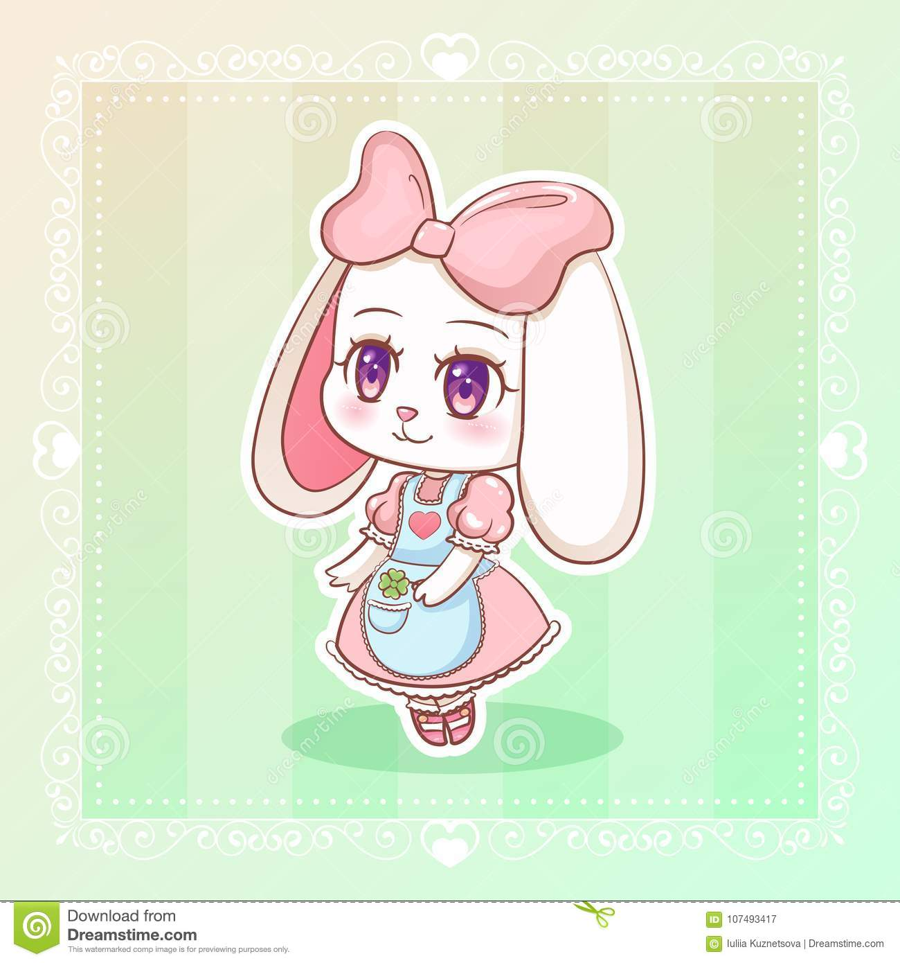 Sweet Rabbit Little Cute Kawaii Anime Cartoon Bunny Girl In Dress