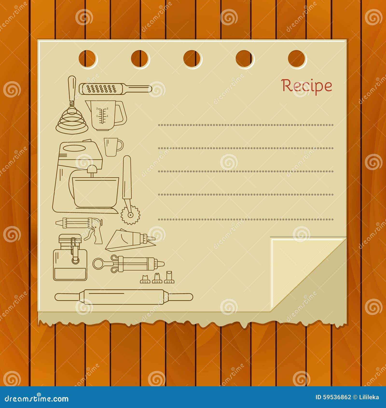 sweet recipe vector card template stock illustration illustration
