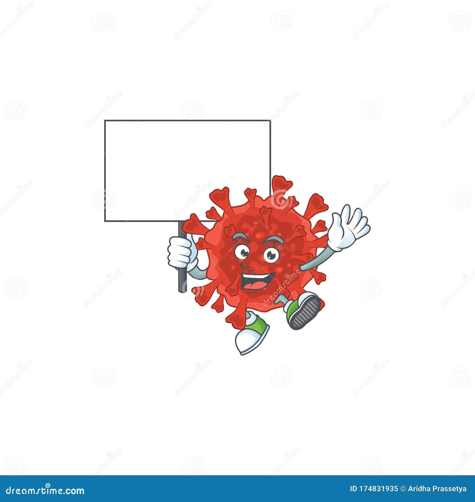 Sweet Red Corona Virus Cartoon Character Bring A Board Stock Vector Illustration Of Disease Hospital 174831935