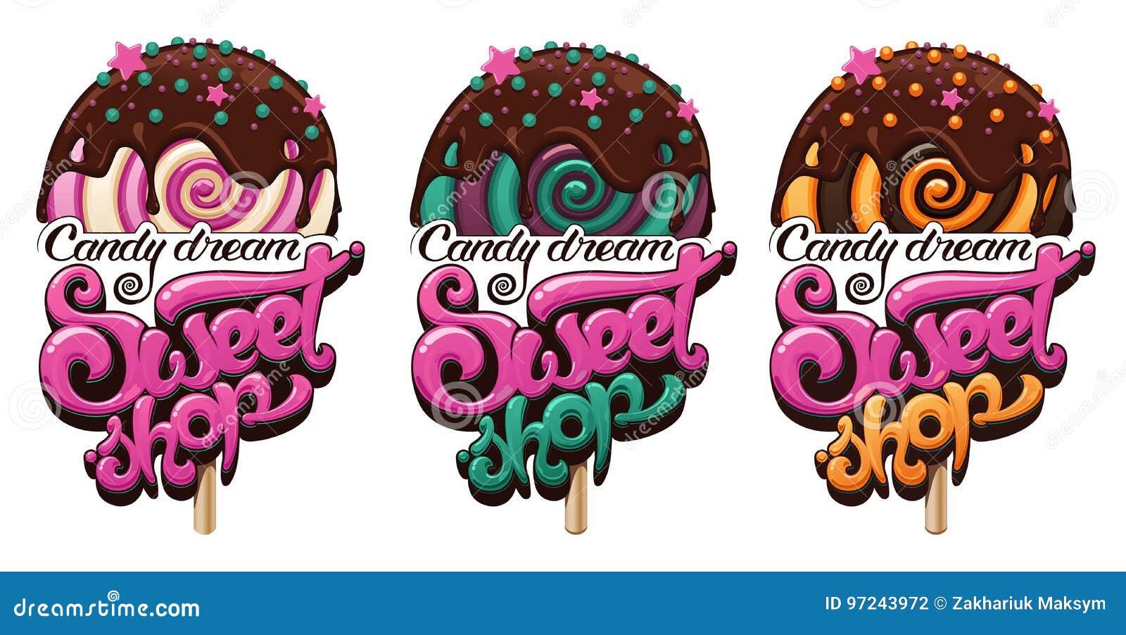 sweet shop logo stock vector illustration of gastronomy