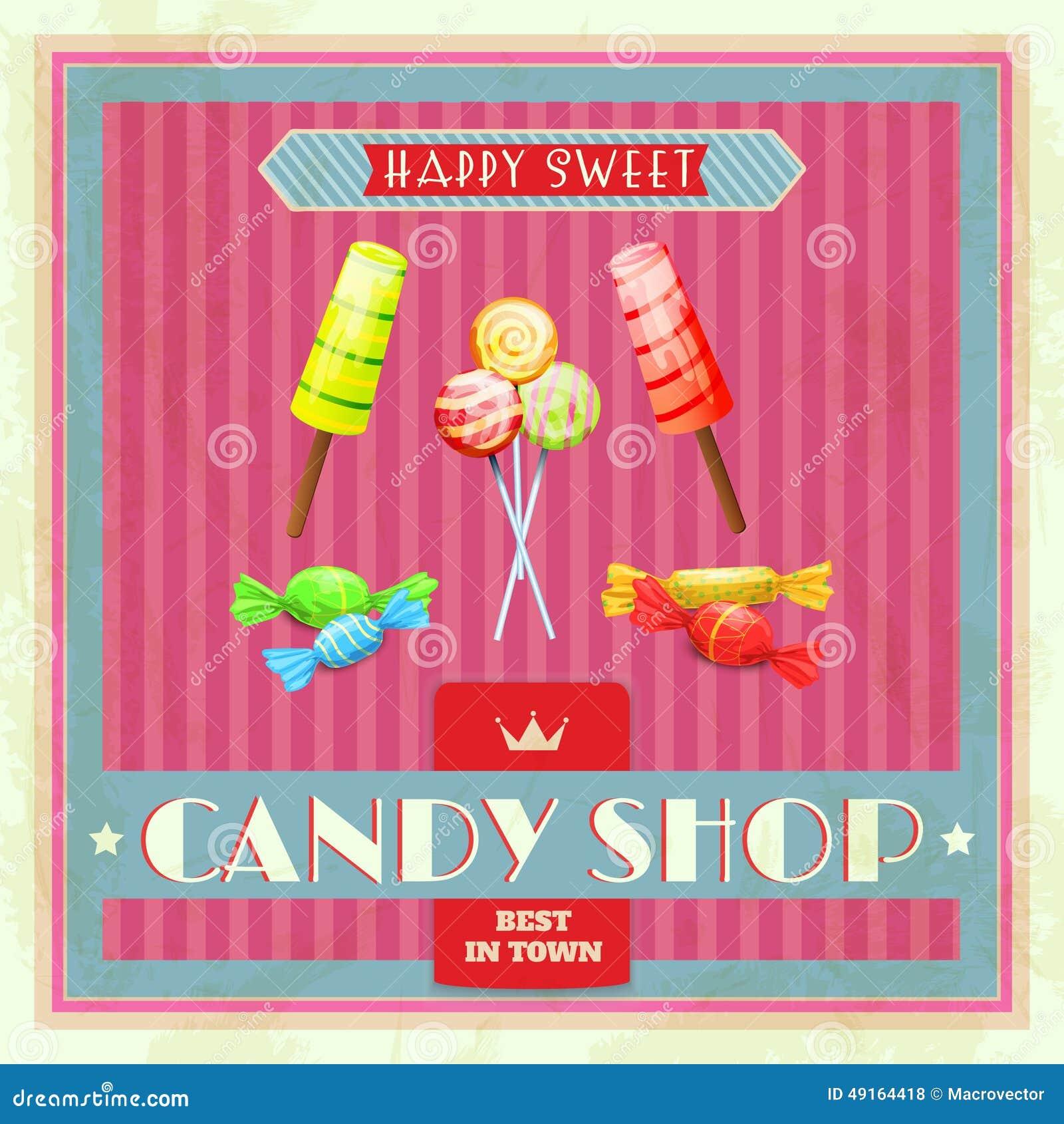 sweet shop poster stock vector image of premium shop 49164418. Black Bedroom Furniture Sets. Home Design Ideas
