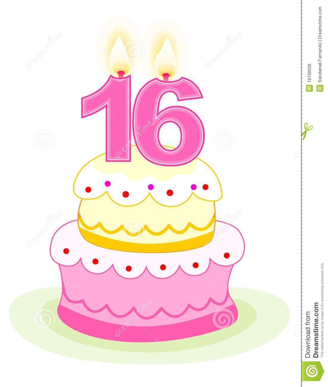 Sweet sixteen birthday cake with numeral candles isolated on white.
