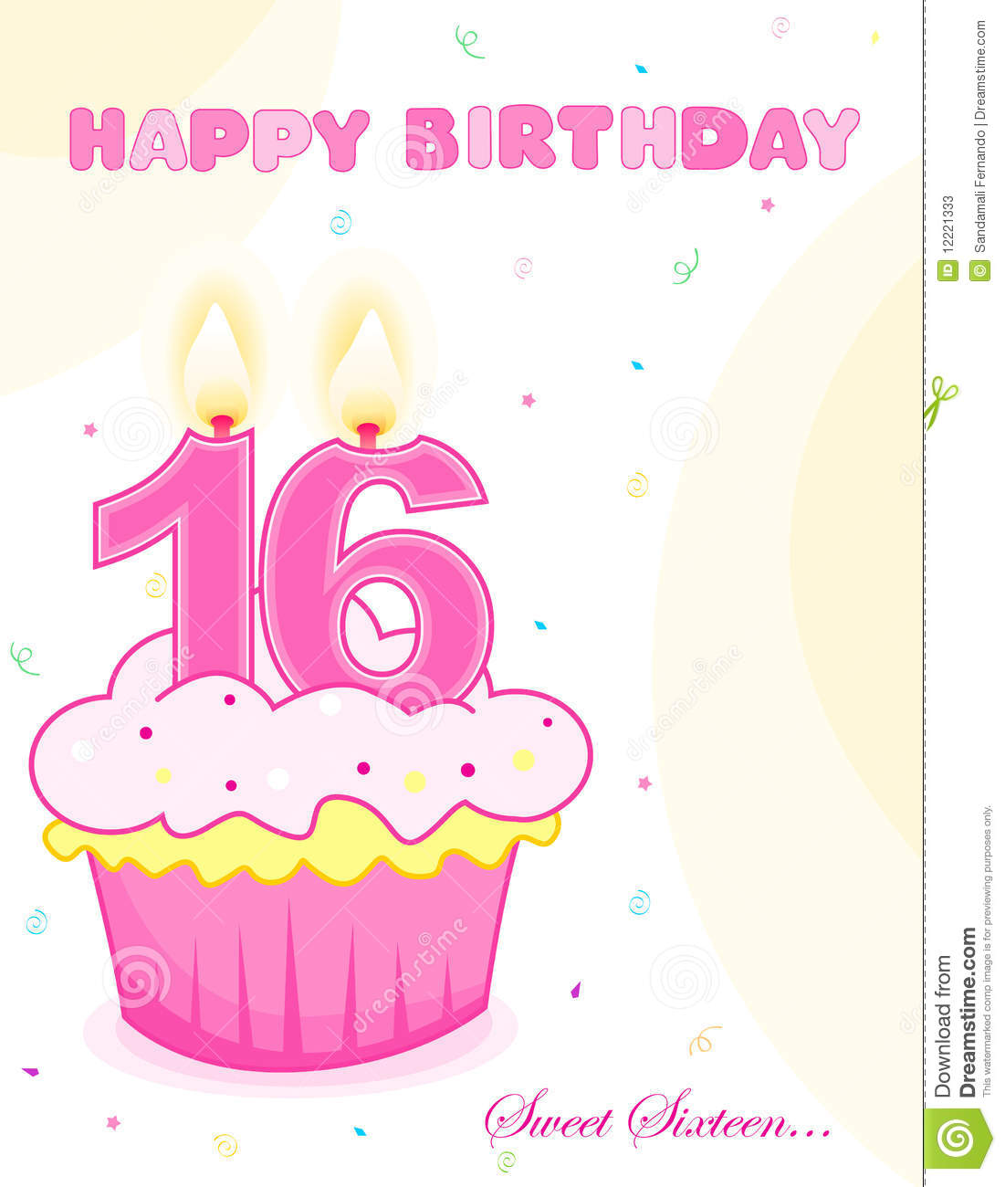Sweet sixteen birthday cake greeting stock vector illustration of sweet sixteen birthday cake greeting bookmarktalkfo Choice Image