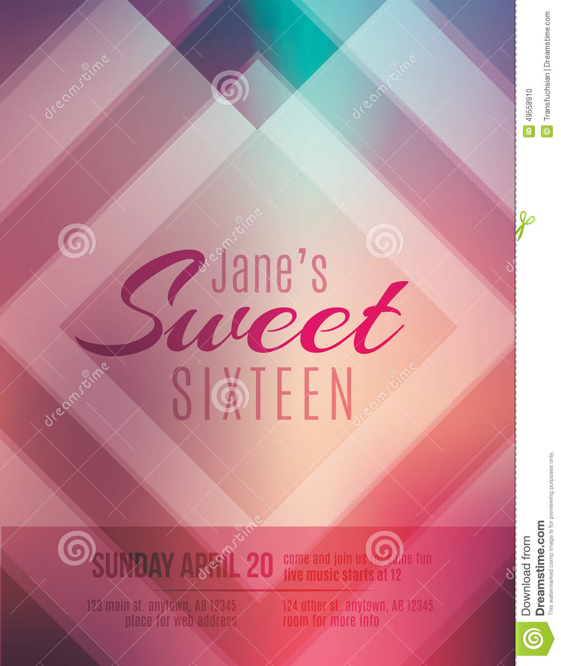Sweet Sixteen Party Invitation Flyer Template Stock Vector - Birthday party invitation flyer template