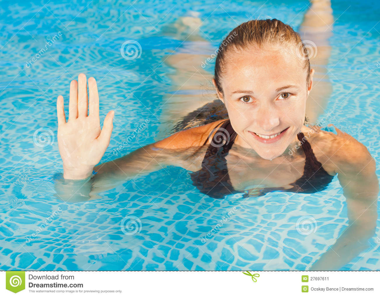 Stock Image Sweet Smiling Young Girl Swimming In The Pool