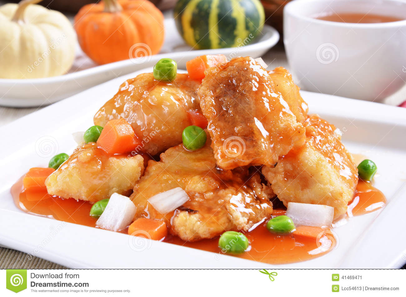 Sweet and sour fish fillet stock photo image 41469471 - Delicious chinese cuisine ...
