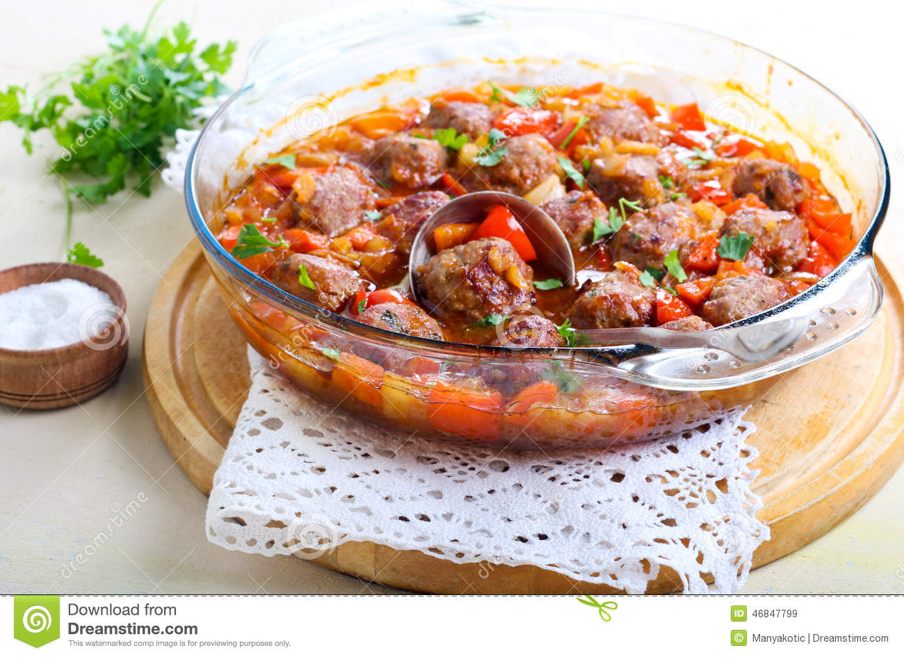Sweet and sour meatballs with vegetables.