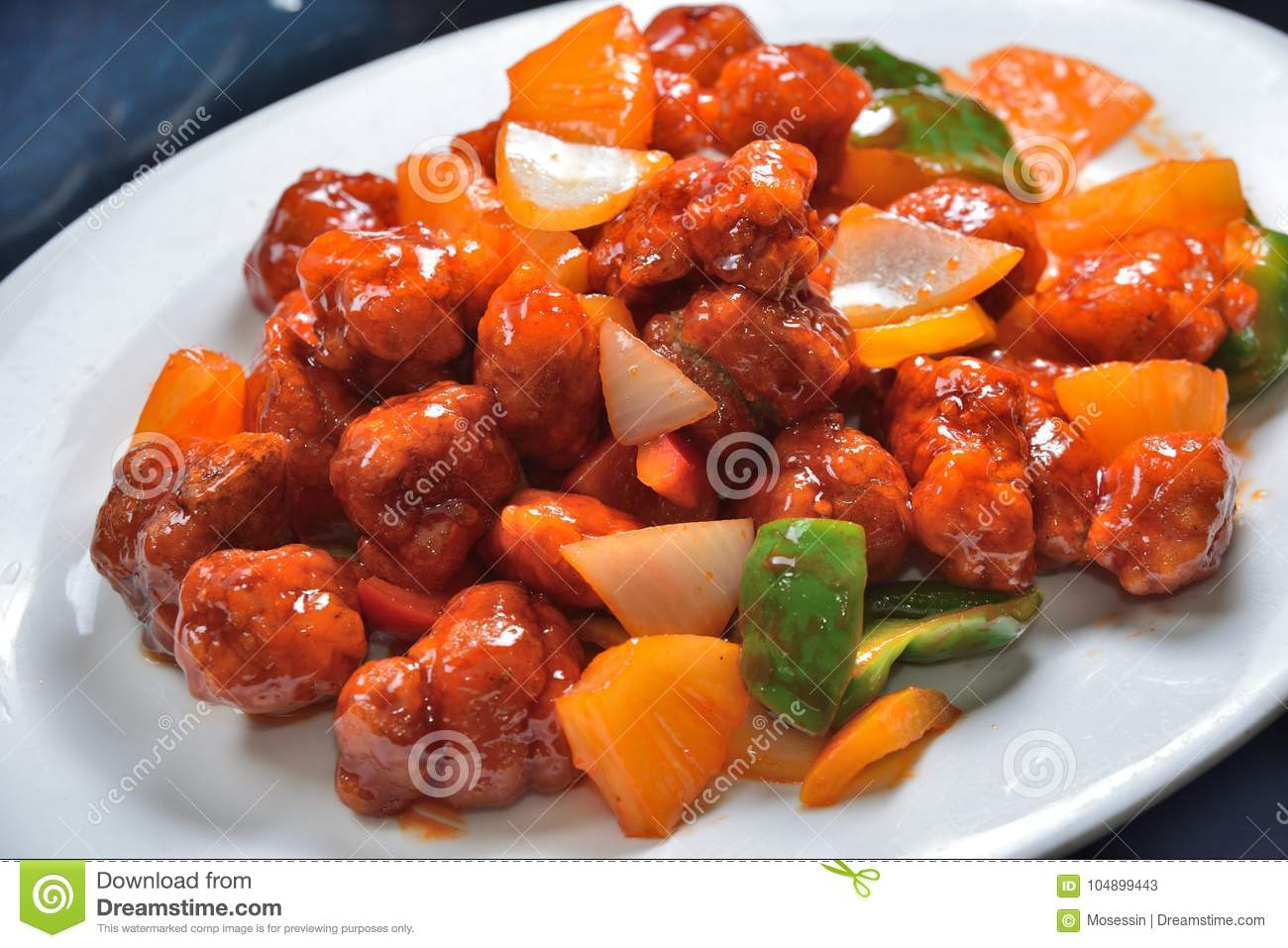 Sweet and sour pork stock image  Image of sweet, leek