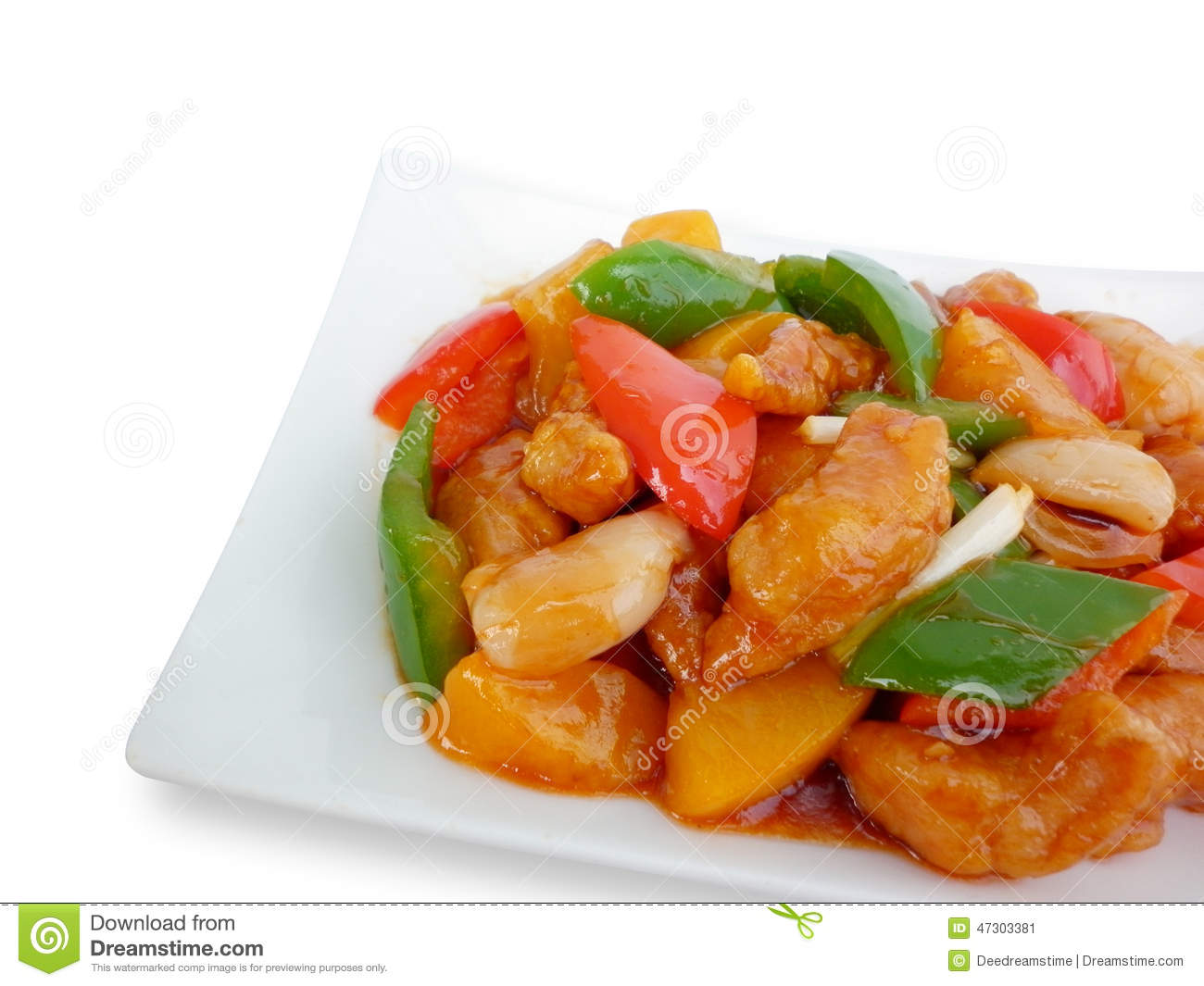 Sweet And Sour Pork With Fruit Salad Stock Photo - Image ...