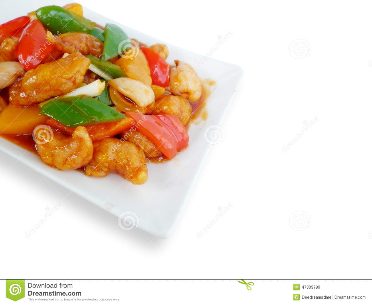 Sweet And Sour Pork With Fruit Salad Stock Image - Image ...