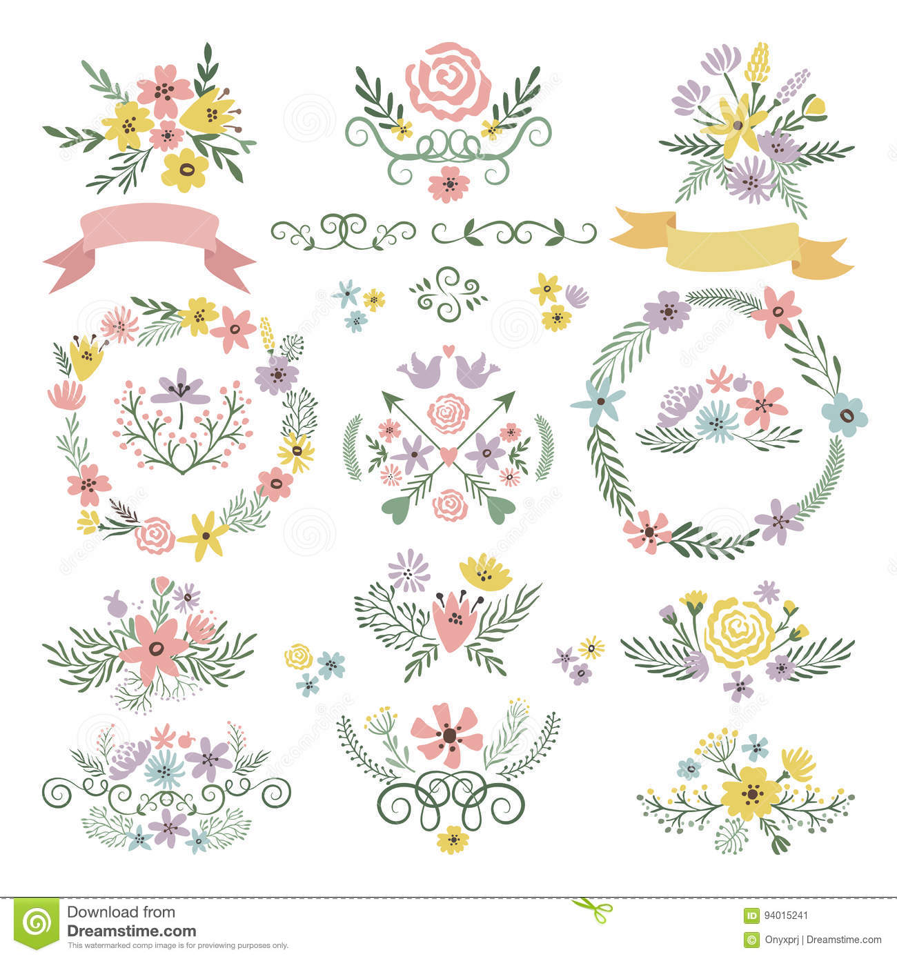 Sweet Stickers And Vintage Labels. Floral Elements For Wedding ...