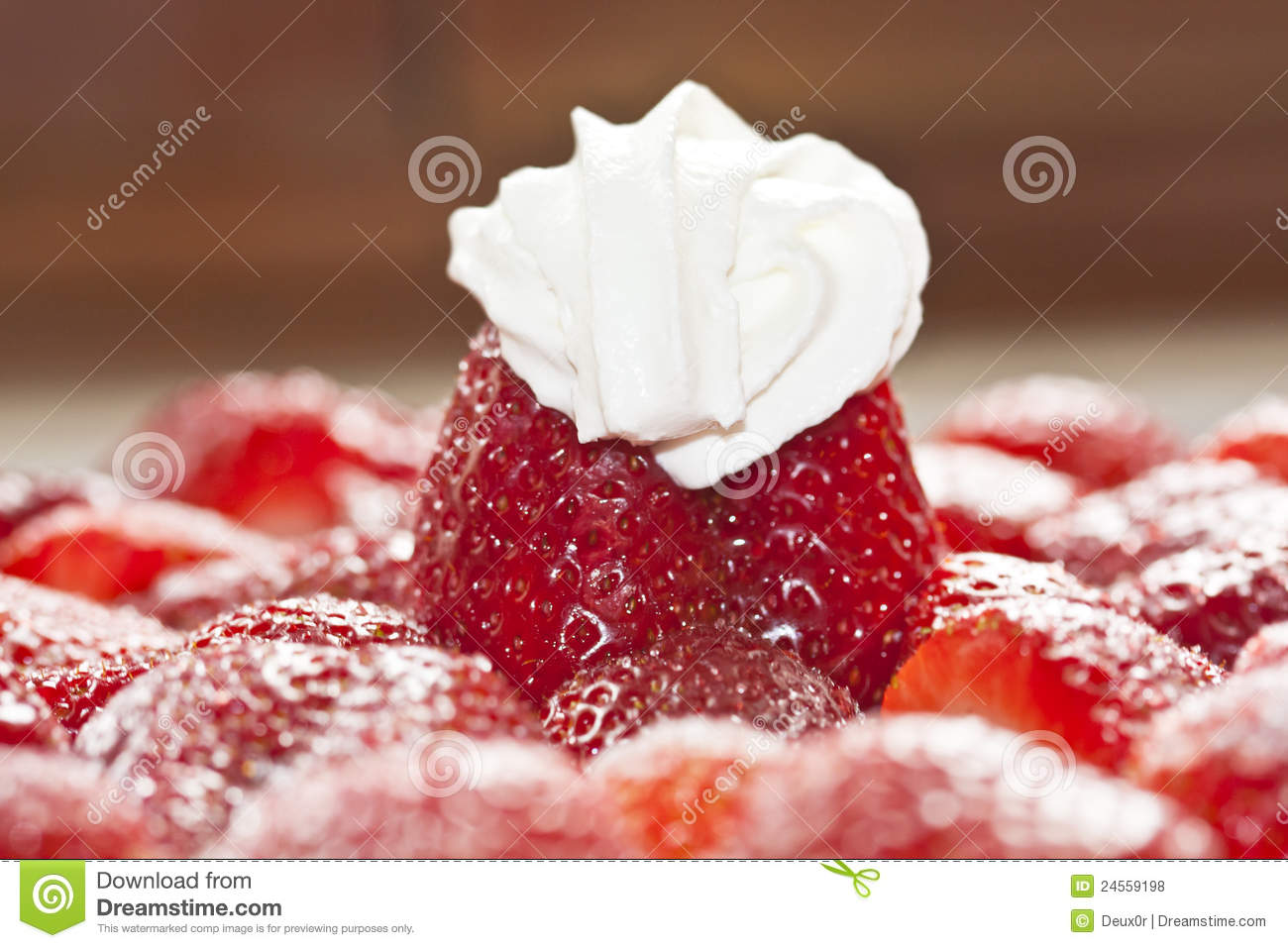 Sweet Strawberry Cake With Whipped Cream Royalty Free Stock Photos ...