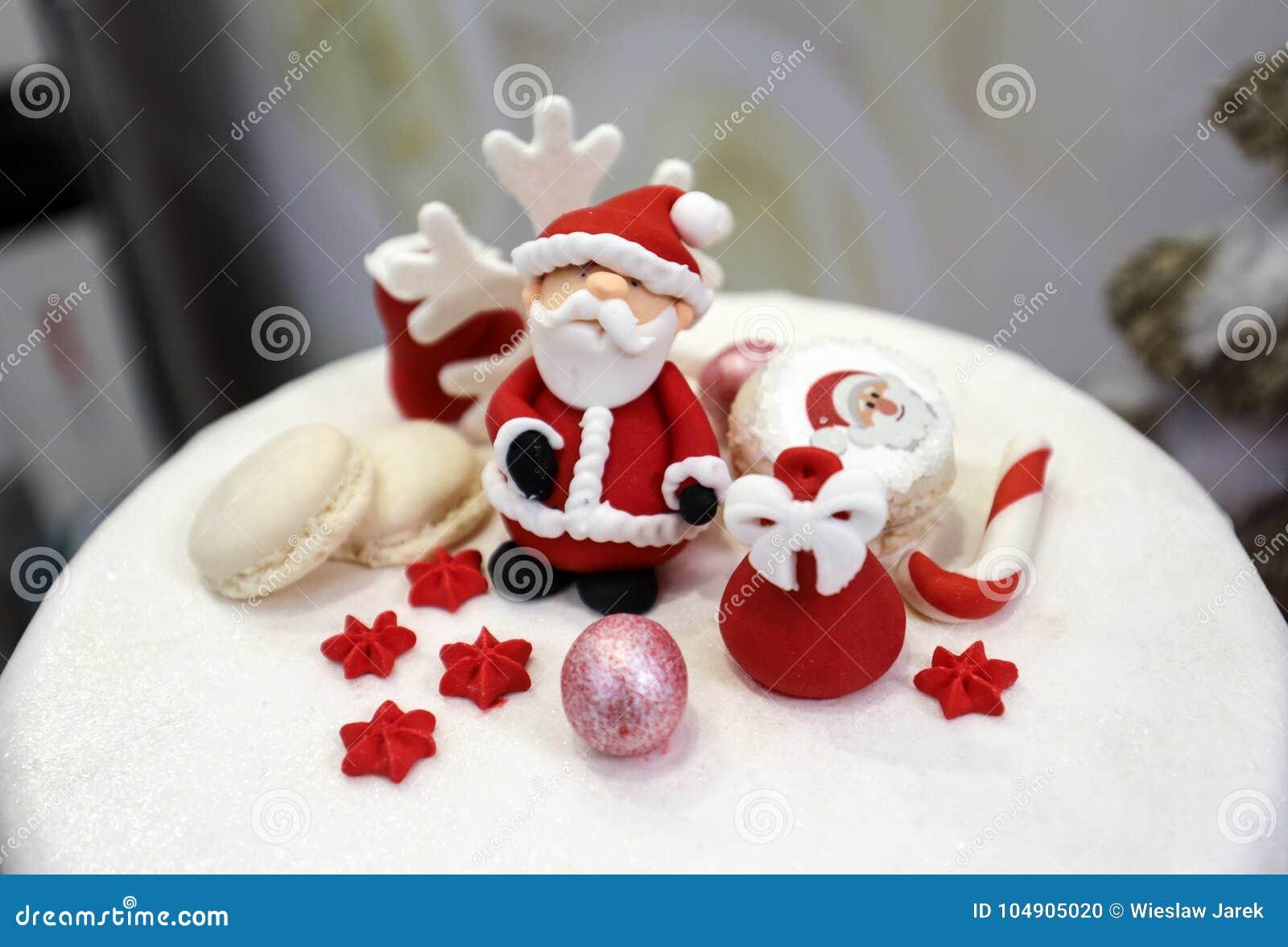 Sweet Sugar Santa Claus And Decorated Christmas Cookies Stock Photo