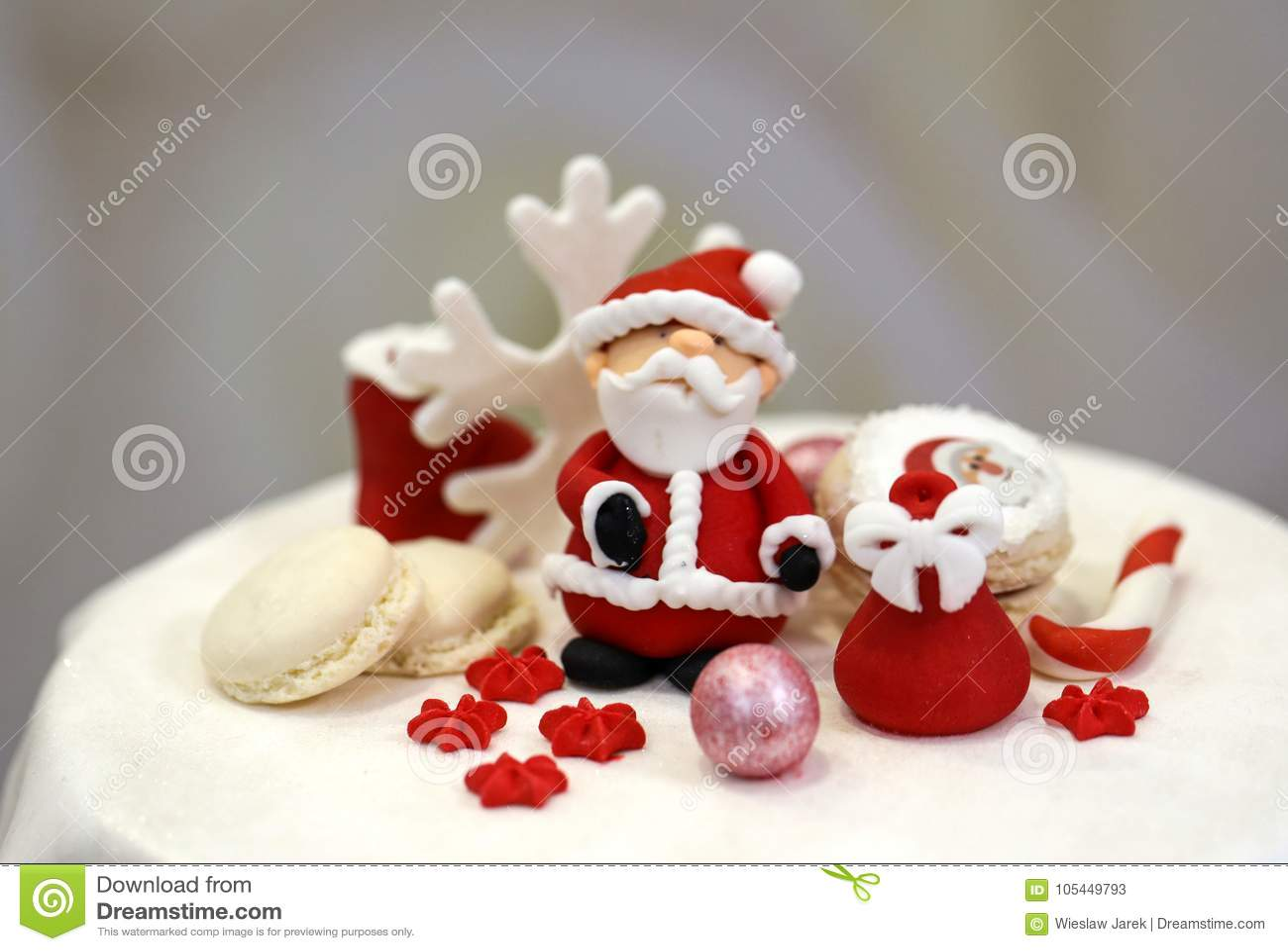 Sweet Sugar Santa Claus And Decorated Christmas Cookies Stock Image