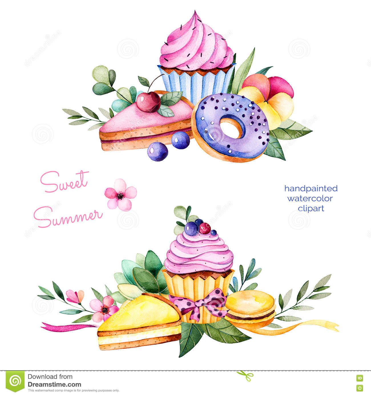 Sweet summer collection with donuts,leaves,succulent plant,branches,pansy flower,macaroons,lemon and cherry cheesecakes,cupcakes.