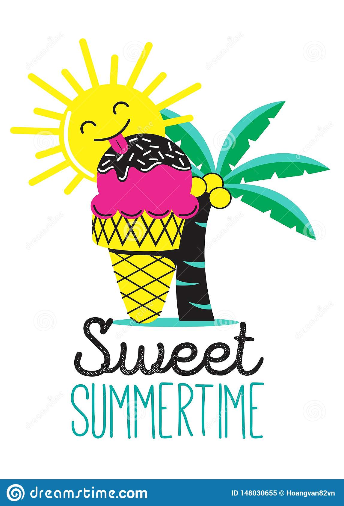 Sweet summer time with ice-cream