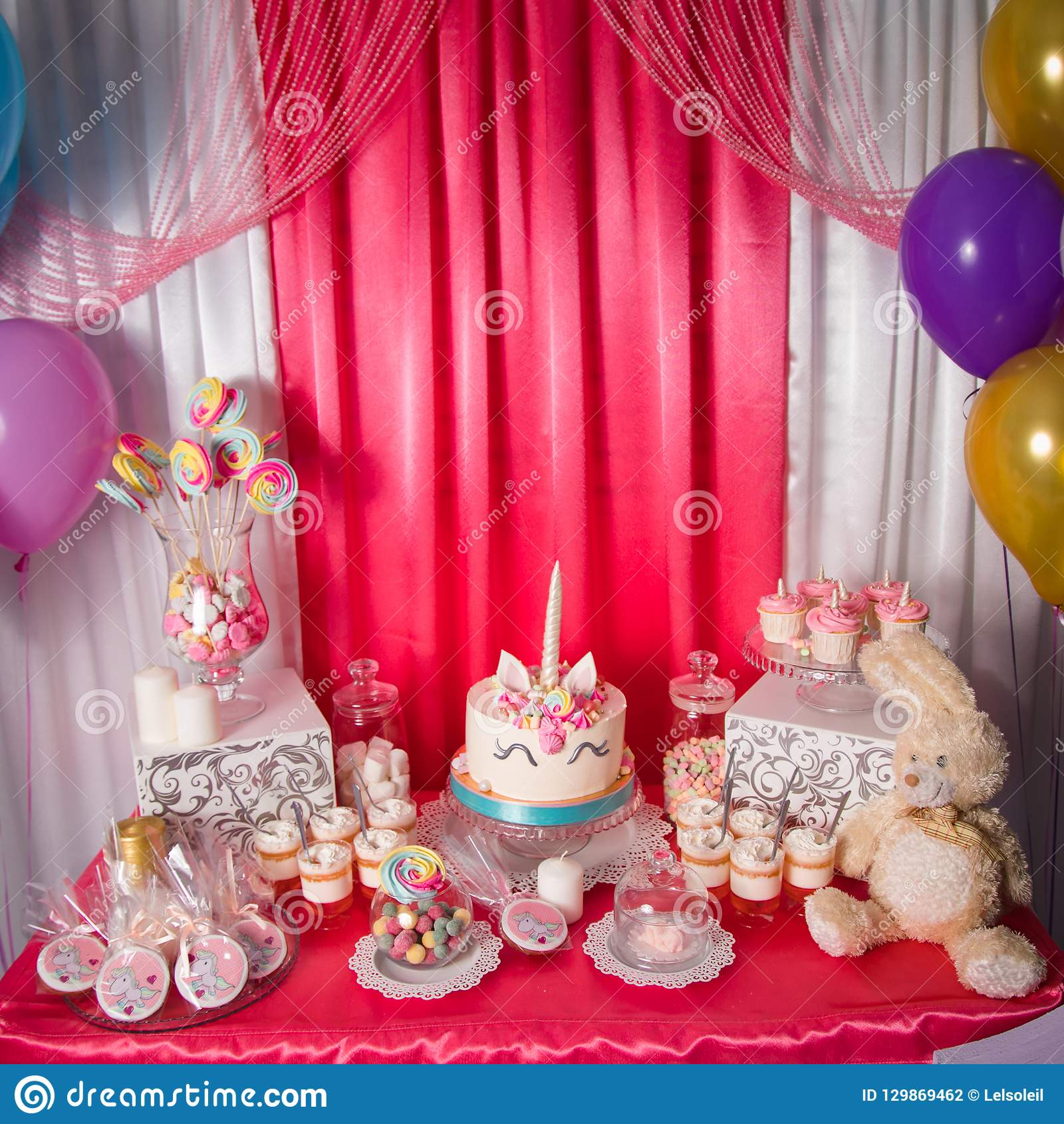 Strange Sweet Table And Big Unicorn Cake For Baby Girl First Birthday Funny Birthday Cards Online Bapapcheapnameinfo